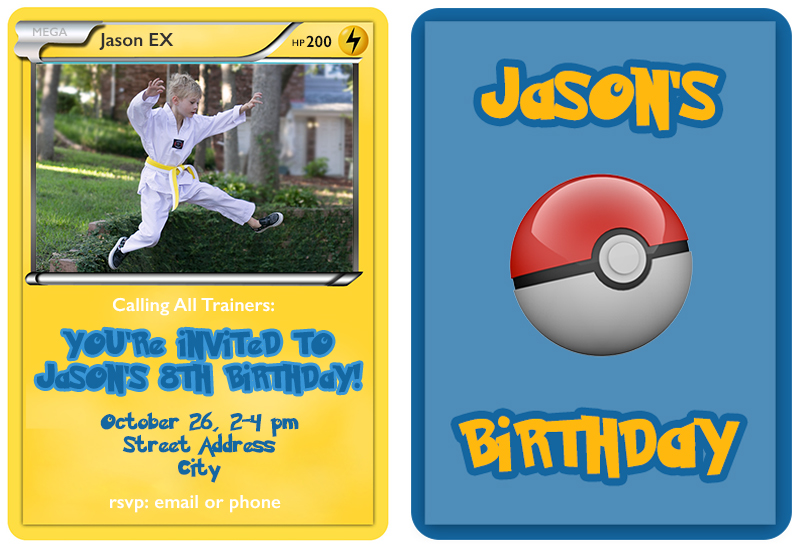 Pokemon Trading Card Invitation Templates